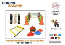 Título do anúncio: Kit Corda Profissional Cones Furados Coloridos Pratos Coloridos Barras Escada PVC