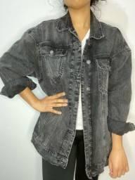 Jaqueta Zara preta jeans unissex bomber jacket