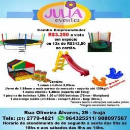 Combo de brinquedos área baby pula pula, piscina de bolinhas, escorrego e outros