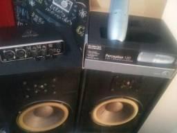 Kit studio placa de áudio + microfone +monitor