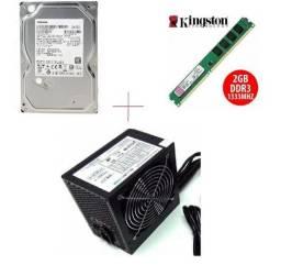 HD 1TB + Fonte Real 350 real + Memória 2GB ddr3