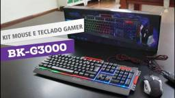 Kit Teclado Mouse Gamer Em Metal Semimecânico Exbom Bk-g3000