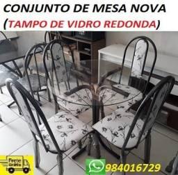 Preço Bom Demais Lindo Conjunto de Mesa Tampo de Vidro(Redondo)Nova 499,00