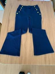 Calça social com detalhes em dourado no bolso - Tamanho G (tecido strech)
