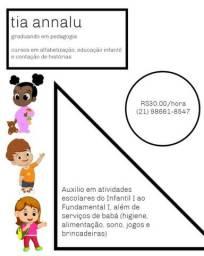 Reforço/acompanhamento escolar, cuidadora infantil