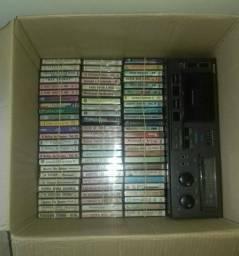 Tape deck + 200 fitas k7