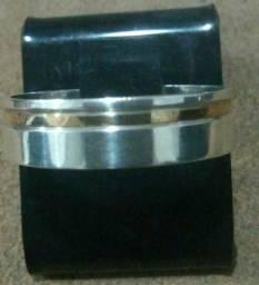 Alianças em prata 950 com filete ouro 18k