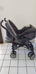 Carrinho + bebê conforto + suporte para carro da marca chicco
