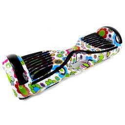 Skate Elétrico Hoverboard 6,5' Polg. com Alça Grande Estampa Branco com Flores - 27103