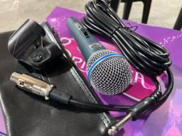 Microfone KM58 profissional + Cabo + Cachimbo presilha + Capa