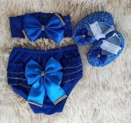Sapatinho + Calcinha Bunda Rica + Tiara De Bebê 0 A 6 Meses Azul