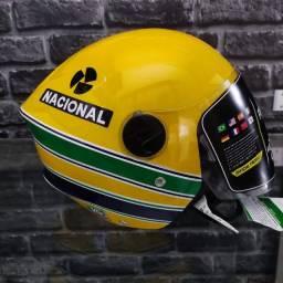 Capacete Aberto Pro Tork New Liberty 3 Personalizado Ayrton Senna Bandeira Brasil