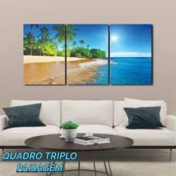 Quadro Decorativo Triplo Ilha Azul Medindo 78cm largura x 38cm altura