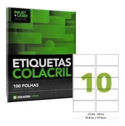 Título do anúncio: Etiqueta Impressora Carta 50,8x101,6mm 100 Fl Cc183 Colacril