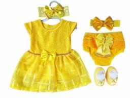 Vestido Para Bebê Renda Baby Kit 5 Pçs Luxo Amarelo