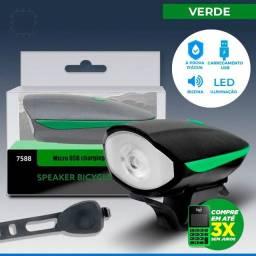 Lanterna Farol Led Bike C\ Buzina Bicicleta Recarregável Usb Verde