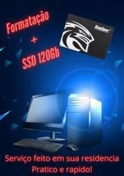 Título do anúncio: Formatação + Ssd 120gb a domicílio