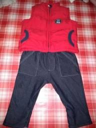 Calça jeans e colete Mickey de 0 a 3 meses