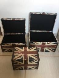 Conjunto de três caixas decorativas