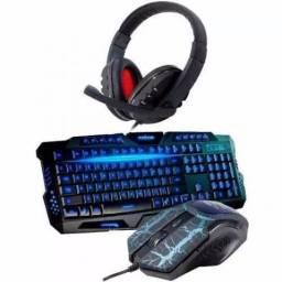 Kit Game Teclado Mouse Usb Led + headfone
