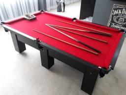Mesa de Redinhas Seis Pés Laterais Tecido Vermelho Cor Preta Modelo CPO4578