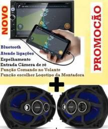 Central Multimídia Tela 7 Touch Screen Bluetooth Usb Espelhamento + Par Alto falantes 6x9