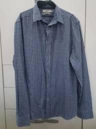 Camisa xadrez azul Casual, tamanho P. Usada apenas 2 vezes