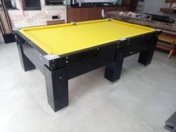 Mesa Gaveta Bilhar Cor Preta Tecido Amarelo Mod. UJHC2293
