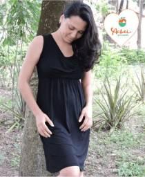 Vestido de amamentação sem manga curto (Preto)
