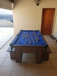 Mesa Charme de Sinuca e Bilhar Cor Imbuia Tecido Azul Mod. IVYS9822