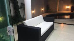 Sofa quadrado 3 lugares avulso em fibra sintetica