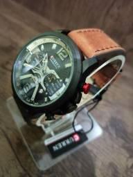 Relógio CURREN (Todo Funcional) Marrom
