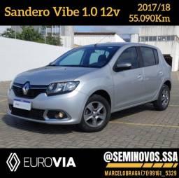 Título do anúncio: Sandero Exp. Vibe 1.0 2017/18 - Marcelo Braga