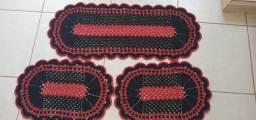 Título do anúncio: Jogo de Tapete para Cozinha Crochê Alice 3 peças