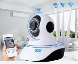 Babá Eletrônica / Camera 360° Hd Wifi / 3 antenas Ip / Visão Noturna / Capta Audio