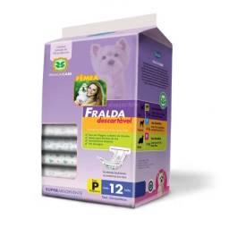 Fralda Descartável tamanho P 12 unidades 4 a 7kg para Cães Chalesco