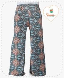 Calça Pantalona (Arabesco Verde e Laranja)
