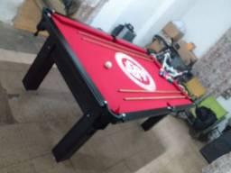 Mesa Tentação de Bilhar Cor Preta Tecido Vermelho Logo Internacional Mod. EQKB9782