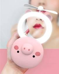 Espelho De Maquiagem Com Luz Led Portátil com Mini Ventilador