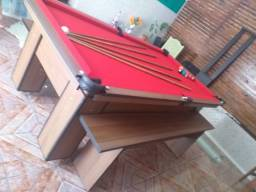 Mesa Charme Carlin Bilhares Cor Imbuia Tecido Vermelho Mod. LXUV3986