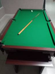 Mesa Charme de Bilhar Cor Tabaco Tecido Verde Mod. CQAK6882