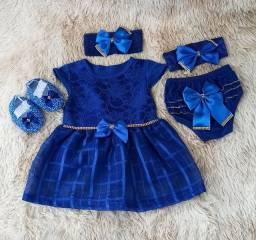 Vestido Para Bebê Renda Baby Kit 5 Pçs Luxo Azul