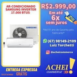 Título do anúncio: Ar Condicionado_17000BTUs Inverter_Samsung_Branco_Novo_Pronta Entrega_NF