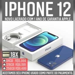 iPhone 12 64gb novo, ACEITAMOS SEU IPHONE USADO COMO PARTE DO PAGAMENTO.