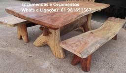 Mesas Rústicas de 2 a 3Mts de Angico. Com dois bancos ou cadeiras