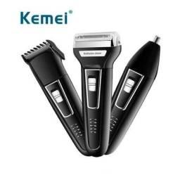 Título do anúncio: Maquina de barbear aparador de pelos 3w kemei 3 em 1 km-6558