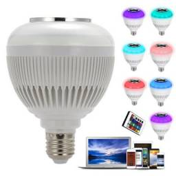 Lampada Led 6w Rgb Caixa Som Bluetooth Controle 2 Em 1 Mp3 (NOVO)