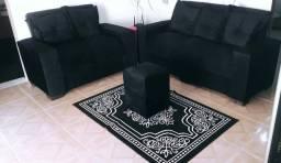 Sofá 2 e 3 lugares + Puff + almofadas grande