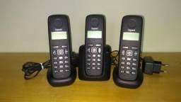 Telefone Sem Fio com entrada para Chip Celular, 3 Ramais