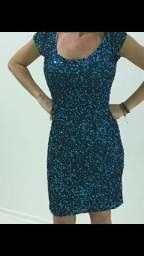 CARNAVAL-LUXO-Vestido todo de paetês azul turqueza-NOVO